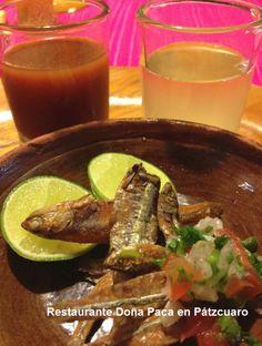 Charales con tequila para comenzar una buena comida en Restaurante Doña Paca en Pátzcuaro