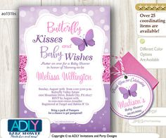 Purple Pink Butterfly Kisses and Baby WIshes by adlyowlinvitations