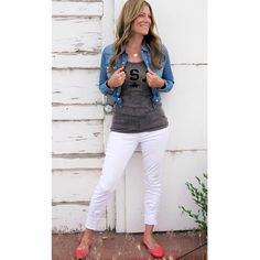 Grey usa tank $28 denim stretch shirt $44 articles of society denim skinny $54 coral ballet flat $24. Call to order 801.763.2700 #ourlittlestoreboutique #utahboutiques #ootd #usa