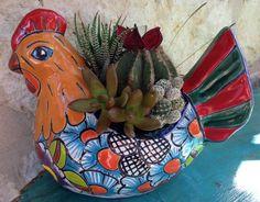 Mexico pottery chicken planter