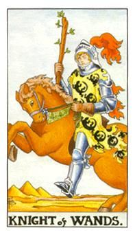 October 17 Tarot Card: Knight of Wands (Universal Waite deck) Energies are shifting now, opening up an opportunity for a new adventure. Don't think too much, just go for it Free Love Tarot Reading, 3 Card Tarot Reading, Page Of Wands, Knight Of Wands, Tarot Gratis, Tarot Card Meanings, Tarot Spreads, Tarot Decks, Tarot Cards