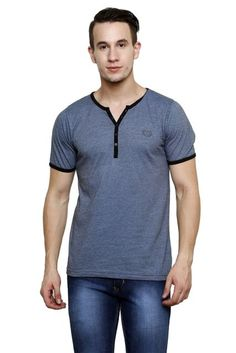 #RIGO #Ink #Blue Slub, Slim Fit Short Sleeve Y-Neck #Henley #Tee