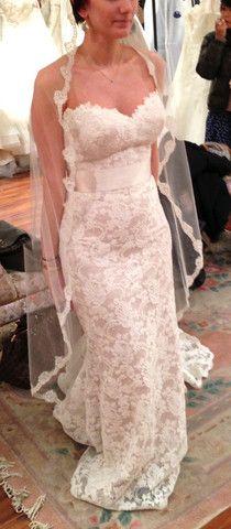 Eugenia Couture Alencon Lace Strapless Wedding Dress - Nearly Newlywed Wedding Dress Shop