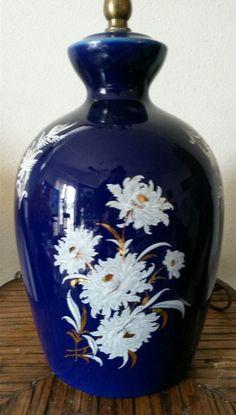 Vintage Cobalt Blue Glazed Ginger Jar White Floral Oriental 3 Way Table Lamp