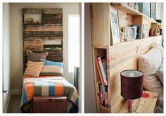 tête de lit idée chambre mur bois étagères diy coussins lit