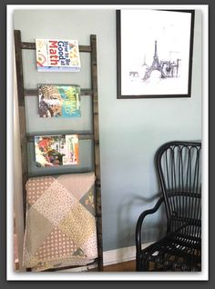 How to Build a Blanket Ladder - Easy Project! - My Bright Ideas Plant Ladder, Diy Ladder, Ladder Decor, Easy Woodworking Projects, Easy Projects, Home Projects, Project Ideas, Quilt Ladder, Diy Blanket Ladder