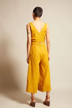 No.6 Alice Jumpsuit in Gold Linen