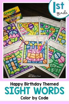 Mastering sight words does not have to be a drag for your first grade students anymore!  These no-prep sight word printables are a perfect way to celebrate a student's birthday in your classroom while increasing reading fluency and improving comprehension skills at the same time!  Click here to see for yourself. #firstgradesightwords #literacycenters #birthdayideasforkids #sightwordactivities #dolchsightwords