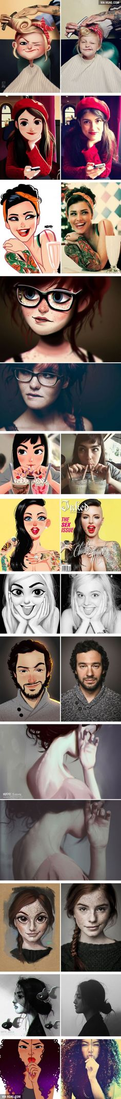 Artist Turns Photos Of Random People Into Fun #Illustrations #Art