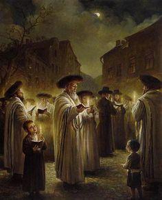 Elena Flerova -Blessing The New Moon II- Jewish Art Oil Painting