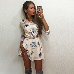 High Quality New 2015 Summer Dress Casual Flower Print Dresses Women Chiffon Sexy Party Street Mini Shirt Dress Mini Shirt Dress, Mini Dress With Sleeves, Casual Summer Dresses, Casual Dresses For Women, Dress Casual, Long Sleeve Floral Dress, Floral Print Shirt, Aliexpress, Buy Dress