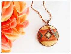 Handmade Ethnic Tribal Indian Fabric Button Antique Copper Necklace {Choose Your Charm} Feather, Feet, Wolf, Horse, or Bear    *FREE Gift with Purchase!  :)   by ZzzonkOwl