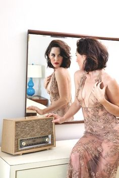 Sheer nude beaded lace dress from French Affair.