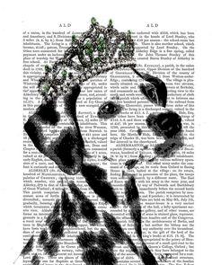 Dalmatian Tiara Original Illustration Art Print Mixed by FabFunky, $12.00