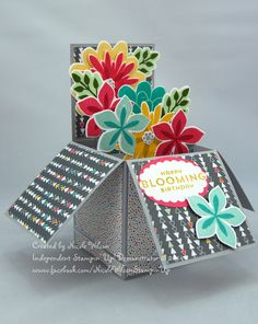 3d box card using flower patch bundle and confetti celebration DSP. www.facebook.com/NicoleWilsonStampinUp