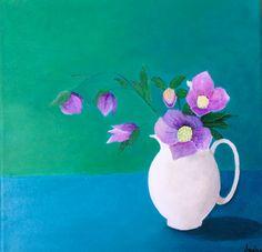 Blomster i flødekande - By Katrine Aastrøm Christensen. 30x30 cm. Akyl på kanvas.