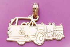 Amazon.com: 14k Gold Profession Necklace Charm Pendant, Fire Truck High Polish: Million Charms: Jewelry
