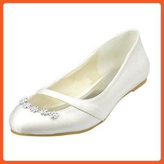 730496fa4759 Kevin Fashion MZ1226 Women s Beading White Satin Bridal Wedding Formal  Party Evening Prom Ballet Flats 6