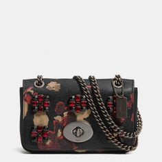 Ahh!! The Mini Chain Crossbody In Jeweled Floral Print Leather from Coach