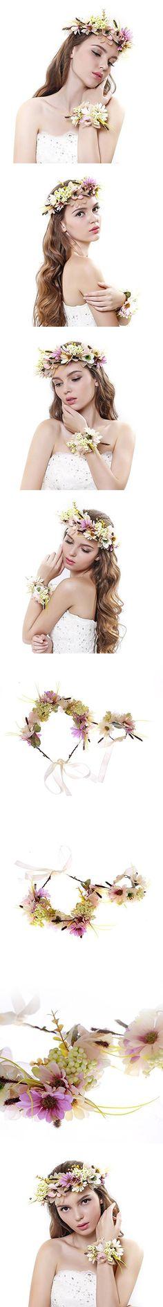 2pc/set Flower Wreath Headband with Floral Wrist Band for Wedding Festivals