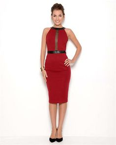 ViJo Couture Faux Leather Cut-Out Dress - Made in USA
