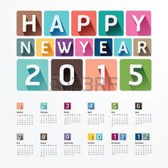 2015 Kalender / 2015 Frohes neues Jahr. Kalender-Design. Creative Paper Schriften Stil Stockfoto - 31659294