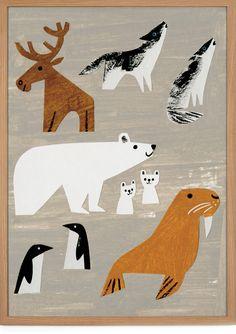 """Winter Animals"" poster by American illustrator Christian Robinson. Art And Illustration, Illustration Mignonne, Nature Illustrations, Polar Bear Illustration, Christian Robinson, Animal Posters, Animal Cards, Animal Puns, Pics Art"