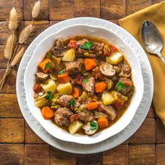 Classic Pork Stew…a delicious and hearty fall meal with pork, carrots, potatoes, leeks, and mushrooms recipes with chicken Fall Crockpot Recipes, Pork Recipes, Cooking Recipes, Leftover Pork Loin Recipes, Pork Stew Meat, Pork Stew Slow Cooker, Veg Stew, Pork Soup, Vegetable Stew