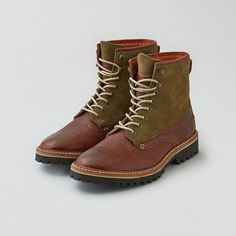 AEO Wolverine Tomas Plain Toe Hiker Boot Cut (220 CAD) ❤ liked on Polyvore featuring men's fashion, men's shoes, men's boots, brown, mens brown shoes, mens brown boots, mens brown leather lace up boots, mens lace up boots and mens lace up shoes