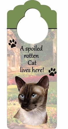 Siamese Cat Wood Sign 'A Spoiled Rotten Siamese Cat Lives Here'with Artistic Photograph Measuring 10 by 4 Inches Can Be Hung On Doorknobs Or Anywhere In Home *** Stop everything and read more details here! : Furnitures that cats love
