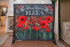 фотозона на грифельной доске бумажные цветы из бумаги декор дизайн в Кемерово Кузбассе www.flofra.ru оформления