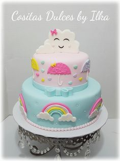 50 Ideas For Baby Shower Ides Gender Neutral Rainbow Baby Cakes, Baby Shower Cakes, Baby Birthday Cakes, Rainbow Birthday Party, Baby Girl Birthday, Girl Cakes, Cupcake Cakes, Bolo Fack, Cloud Cake