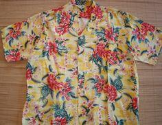 Mens Vintage 60s Lei Flower Rayon Hawaiian Aloha Shirt