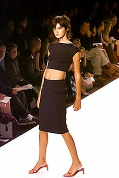 Ralph Lauren Spring 2000 Ready-to-Wear Collection crop top and tight skirt in dark brown colour