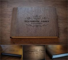 Graphistudio - Dark Brown Oak Wooden Cover with Moka Sequoia Leather Spine & Back - with laser engraved writing