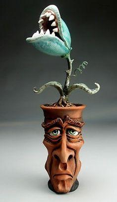 The Addiction - Face Jug raku folk art pottery sculpture planter by Grafton Ceramic Clay, Ceramic Pottery, Pottery Art, Polymer Clay Sculptures, Sculpture Clay, Clay Monsters, Face Jugs, Pottery Sculpture, Clay Figures