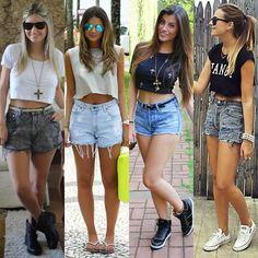 Leia aqui!: http://imaginariodamulher.com.br/look/?go=2kzaUvP 10 Looks com Shorts com Cintura Alta e onde Encontrar