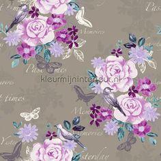 Bloemen vintage - lila/paars behang 138122, Pretty Nostalgic van Esta home