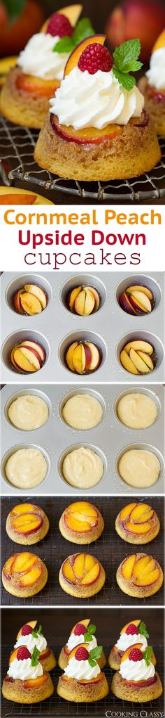 Cornmeal Peach Upside Down Cupcakes - these are DREAMY! Like peach cobbler meets cornbread meets upside down cake meets cupcakes! So fun, everyone loved them!