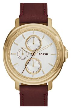 Fossil 'Chelsey' Crystal Bezel Multifunction Leather Strap Watch, 39mm
