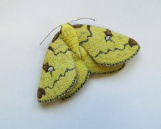 Embroidered moth brooch 'Brimstone Moth' textile by AgnesandCora