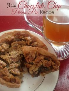 Mini Chocolate Chip Pecan Pie Recipe! This is a fun recipe for Thanksgiving or Christmas - Plus, this recipe includes a Homemade Pie Crust!