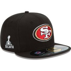 Men's New Era San Francisco 49ers Super Bowl XLVII Onfield 59FIFTY? Football Structured Fitted Hat by New Era. $23.97. Raised, embroidered team logo on frontStitched New Era? flag on left. NFL? structured, fitted hat. Worn exclusively by players on the sideline during Super Bowl? XLVII. Super Bowl? XLVII graphic on right Traditional panel construction Officially licensed. Made in China. Reveal to the world how much you love your gridiron gang with this mens' New Era? NFL...