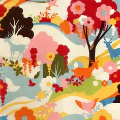 Oh Deer Japanese fabric by Momo for Moda, Enchanted Forest in Creamsicle-Fat Quarter. $3.00, via Etsy.
