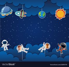 Astronaut on space template Royalty Free Vector Image Board Decoration, Class Decoration, Nasa Party, Space Theme Classroom, Powerpoint Background Design, Kids Background, School Frame, Space Illustration, Space Party