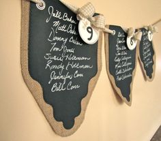 Wedding Banners ... Seating Chart ... Bunting ... Burlap and Chalk Cloth Pennants to Customize again and again - Set of 12