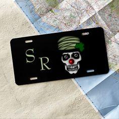 Cool green design skeleton clown with a shamrock in hat. Irish Skeleton Clown Monogram License Plate by kahmier