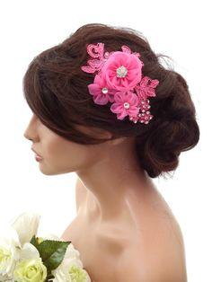 Fuscia Pink Lace Crystal Chiffon Flower Hair Grip Hair Vine Fascinator Prom