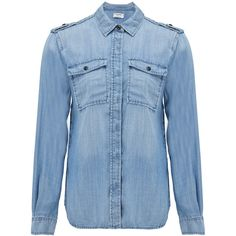 Frame Denim Le Military Shirt - Lake ($290) ❤ liked on Polyvore featuring tops, lake, epaulet shirt, denim shirt, drape shirt, military shirts and blue shirt