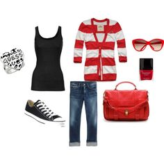 Black sunglasses, black tank, red and white striped cardi, cuffed jeans, grey Converse, black purse, & red nails